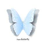 Blauwe die vlinder van document wordt verwijderd stock illustratie