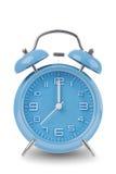 Blauwe die wekker op wit wordt geïsoleerde Royalty-vrije Stock Foto