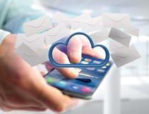 Blauwe die wolk door realistische die envelop e-mail wordt omringd op a wordt getoond Royalty-vrije Stock Afbeeldingen