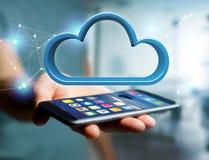 Blauwe die wolk op een futuristische interface wordt getoond - het 3d teruggeven stock fotografie