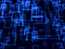 Blauwe digitale fantasie wireframe kubussen Royalty-vrije Illustratie