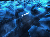 Blauwe digitale fantasiescène Stock Afbeelding
