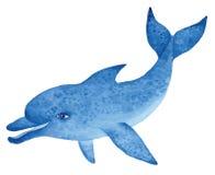 Blauwe dolfijn, waterverfillustratie Royalty-vrije Stock Fotografie
