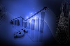 Blauwe dollar en grafiek Royalty-vrije Stock Fotografie