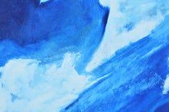 Blauwe, donkerblauwe en witte waterverfverf op canvas stock afbeelding