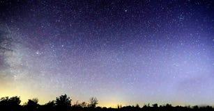 Blauwe donkere nachthemel met vele sterren boven gebied van bomen Yellowstonepark De achtergrond van de Milkywaykosmos stock foto