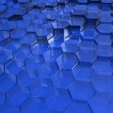 Blauwe Doorzichtige Zeshoeken Royalty-vrije Stock Foto