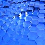 Blauwe Doorzichtige Zeshoeken Royalty-vrije Stock Afbeeldingen