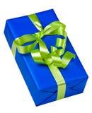 Blauwe doos met groene boog Stock Foto