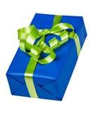 Blauwe doos met groene boog Royalty-vrije Stock Afbeeldingen