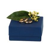 Blauwe doos met trouwringen Stock Foto