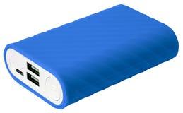 Blauwe draagbare geïsoleerde batterij stock foto