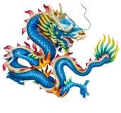 Blauwe draak die op wit wordt geïsoleerd? Royalty-vrije Stock Foto