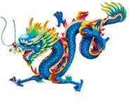 Blauwe draak die op wit wordt geïsoleerd? Royalty-vrije Stock Foto's