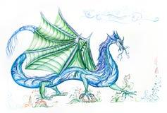 Blauwe draak met groene vleugels Royalty-vrije Stock Foto's
