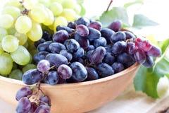 Blauwe druiven in een kleikom Stock Foto's