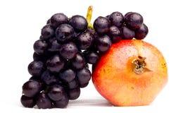 Blauwe druiven en granaatappel Royalty-vrije Stock Foto
