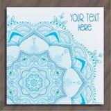 Blauwe dunne mandalaprentbriefkaar Royalty-vrije Stock Afbeeldingen