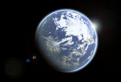 Blauwe earthlike vreemde planeet Royalty-vrije Stock Foto's