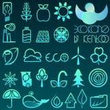 Blauwe ecopictogrammen van het gradiëntoverzicht Stock Foto's