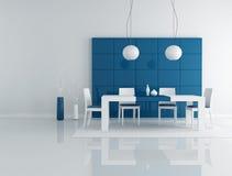 Blauwe eetkamer Stock Afbeeldingen