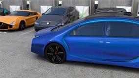 Blauwe elektrische auto terug naar parkeerplaats zonder bestuurder daarin stock illustratie