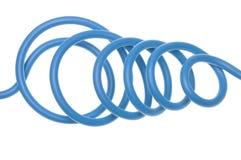 Blauwe elektrische die kabel in elektroinstalation wordt gebruikt Stock Foto
