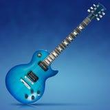 Blauwe Elektrische Gitaar Royalty-vrije Stock Foto
