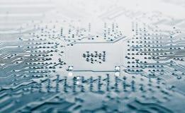 Blauwe elektronische kring Stock Afbeeldingen