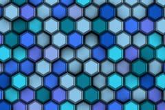 Blauwe en blauwe zeshoeken Royalty-vrije Stock Foto's