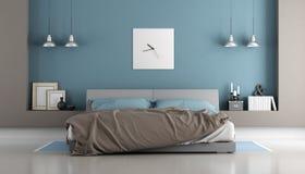 Blauwe en bruine moderne slaapkamer vector illustratie