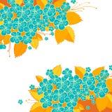 Blauwe en gele bloemachtergrond Royalty-vrije Stock Afbeeldingen