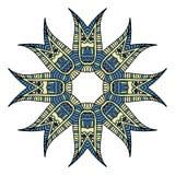 Blauwe en gele cirkelmandala Royalty-vrije Illustratie