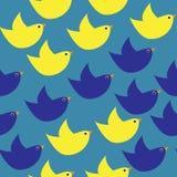 Blauwe en gele eenvoudige vogels Stock Foto's