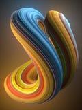 Blauwe en gele gekleurde verdraaide vorm De computer produceerde abstracte geometrische 3D teruggeeft illustratie Royalty-vrije Stock Foto's