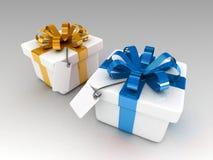 blauwe en gele gift Stock Foto's