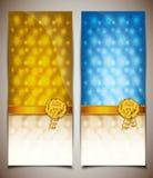 Blauwe en gele giftkaart Stock Foto's