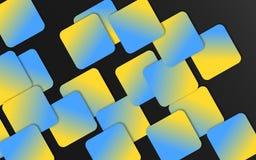 Blauwe en gele overlappende vierkantenachtergrond - Abstract geometrisch vormenbehang stock illustratie