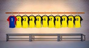 Blauwe en Gele Rij van Voetbaloverhemden 1-111 Stock Foto