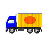 Blauwe en Gele Vrachtwagen Stock Fotografie