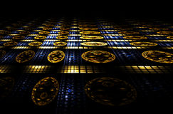 Blauwe en gouden abstracte perspectief het van het casino, Stock Foto