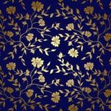 Blauwe en gouden bloementextuur voor achtergrond Royalty-vrije Stock Foto's