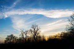 Blauwe en gouden hemel bij zonsondergang Stock Fotografie