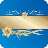 Blauwe en gouden kaart met bloemen Stock Afbeelding