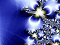 Blauwe en Gouden van de Ster Fractal Als achtergrond Stock Afbeeldingen