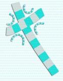 Blauwe en grijze abstracte dwarscollage Royalty-vrije Stock Afbeelding