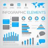 Blauwe en grijze infographic elementen Royalty-vrije Stock Foto's
