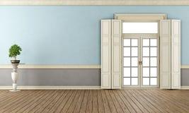 Blauwe en grijze klassieke woonkamer Stock Fotografie