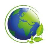 Blauwe en groene aarde met bladeren vector illustratie
