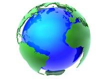 Blauwe en groene aardebol Stock Afbeeldingen